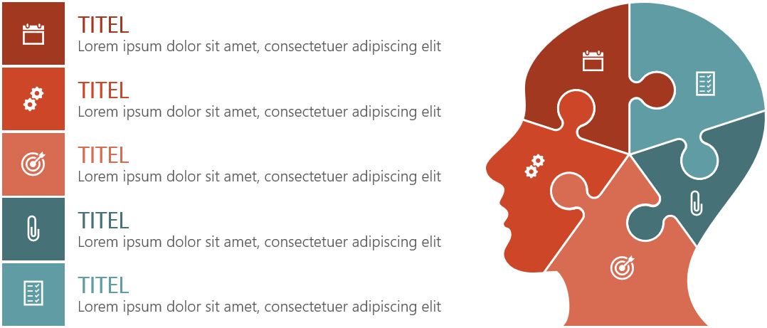PowerPoint Vorlage: Puzzle-Kopf mit Auflistung