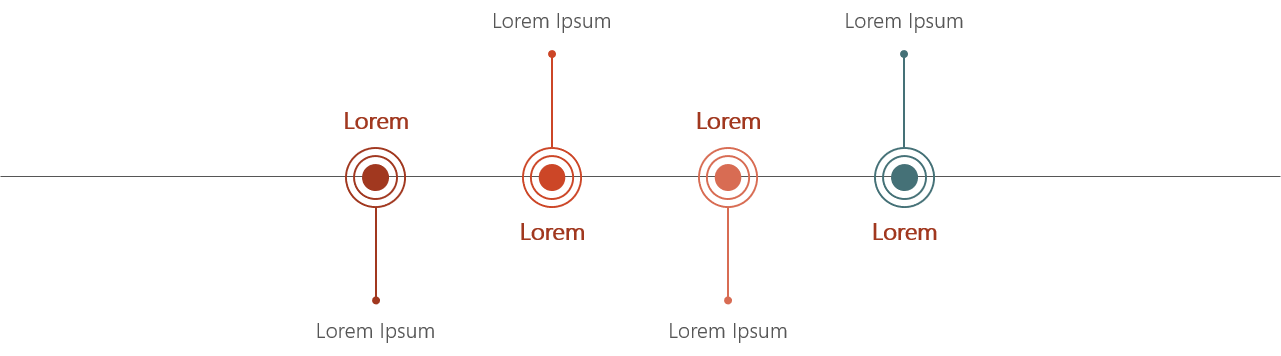 PowerPoint Vorlage: Zeitstrahl mit abgehenden Linien