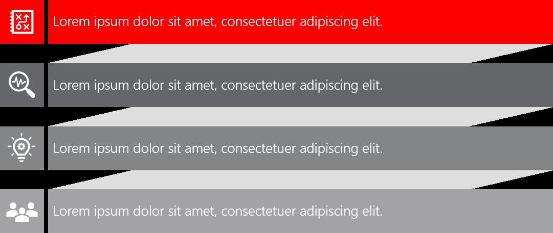 PowerPoint Vorlage: Agenda mit Balken, Schatten und Piktogrammen