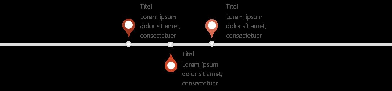 PowerPoint Vorlage: Zeitstrahl mit entgegengesetzten Pins