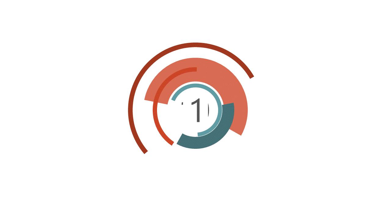 PowerPoint Vorlage: Countdown mit kreisenden Linien