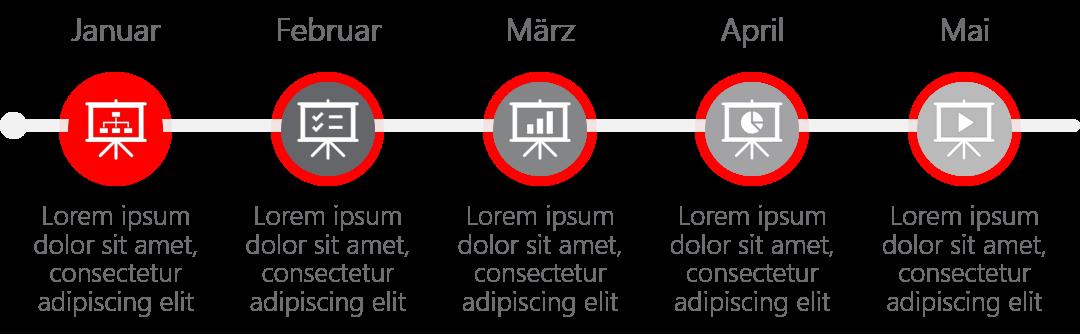 PowerPoint Vorlage: Zeitlicher Ablauf mit runden Piktogrammen
