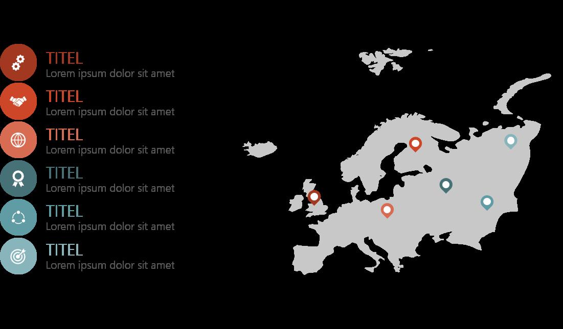 PowerPoint Vorlage: Landkarte mit Markern und Piktogrammen