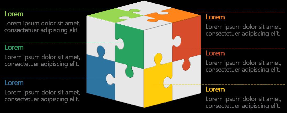PowerPoint Vorlage: 3D-Puzzlewürfel – 4 Pro Seite