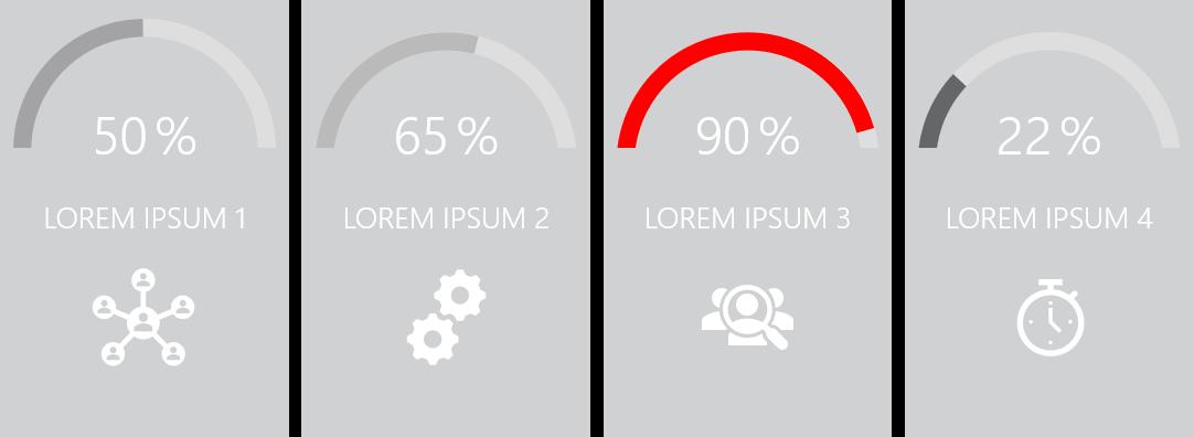 PowerPoint Vorlage: Statusanzeige mit Prozenten in farbigen Kästen