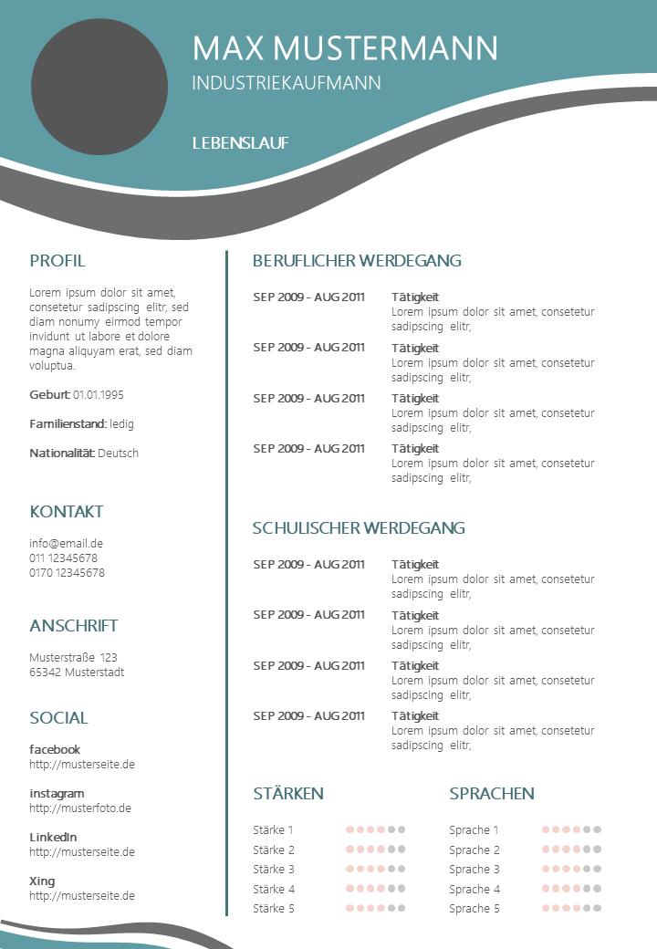 PowerPoint Vorlage: Lebenslauf mit Wellenform