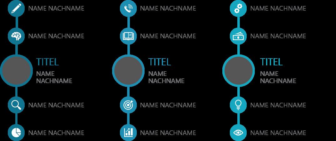 PowerPoint Vorlage: Teamvorstellung mit umkreisten Bildern und Piktogrammen