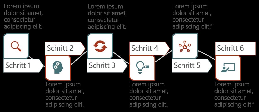 PowerPoint Vorlage: Geschwungener Workflow mit Piktogrammen
