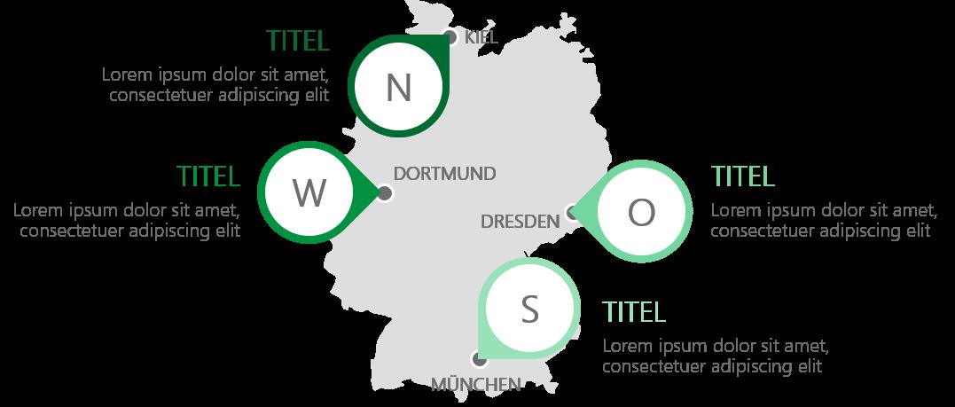 PowerPoint Vorlage: Deutschlandkarte mit Markern