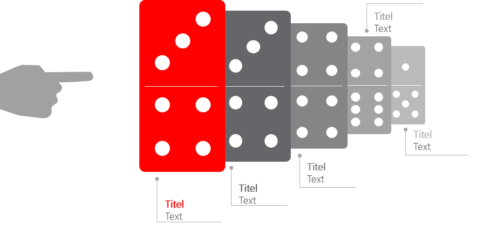 PowerPoint Vorlage: Auflistung mit Domino-Steinen