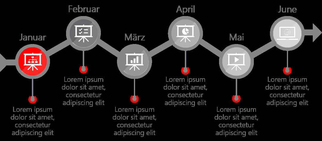 PowerPoint Vorlage: Timeline mit transparenter Linie im ZickZack-Look