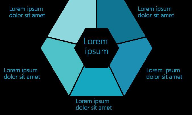 PowerPoint Vorlage: Sechseck mit Thema im Zentrum und Details