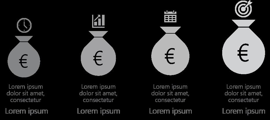 PowerPoint Vorlage: Budgetpakete in Geldsäcken