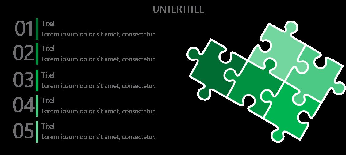 PowerPoint Vorlage: Puzzle-Layout für Auflistung