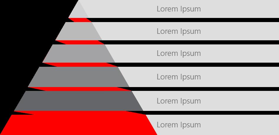 PowerPoint Vorlage: Auflistung mit Pyramide aus einem Band