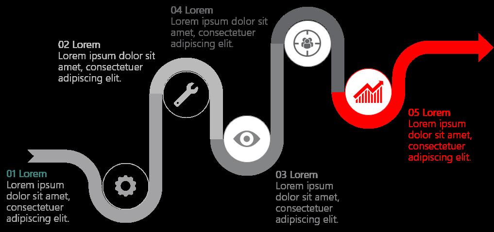 PowerPoint Vorlage: Prozess mit rotem Faden