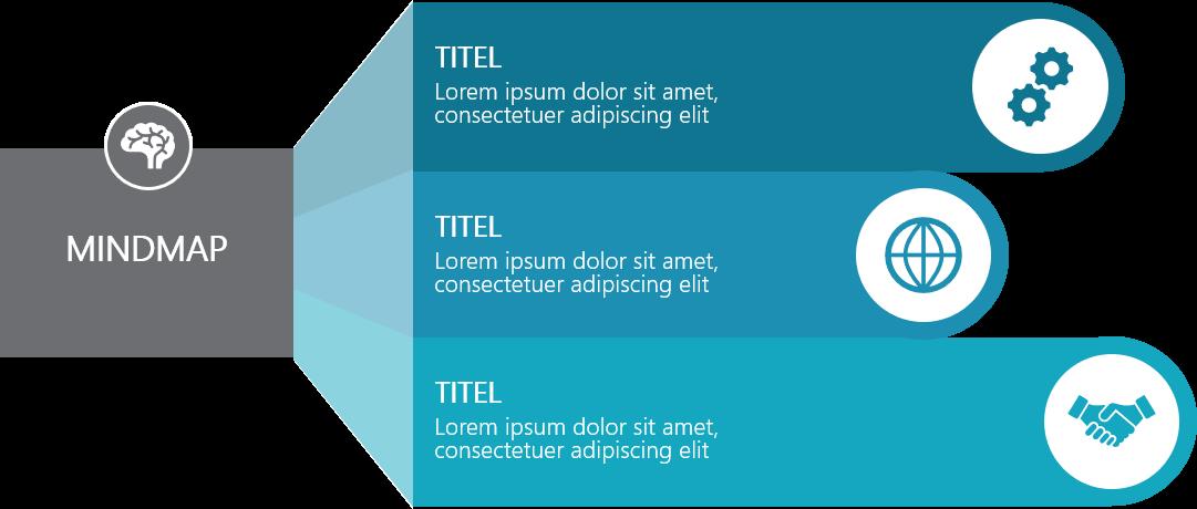 PowerPoint Vorlage: Mindmap im Falt-Look