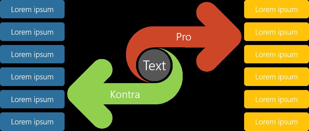 PowerPoint Vorlage: Pro und Kontra mit transparenten Pfeilen