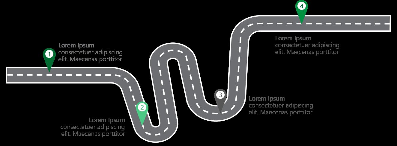 PowerPoint Vorlage: Roadmap mit verschiedenen Stopps