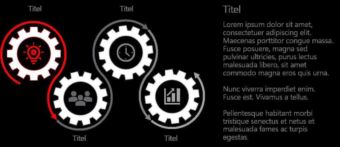 PowerPoint Vorlage: Prozess mit Zahnrädern in Wellenform