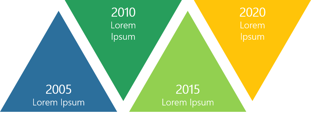 PowerPoint Vorlage: Timeline mit Dreiecken im Zickzack-Look