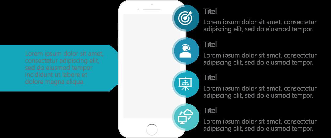 PowerPoint Vorlage: Smartphone für Produkteigenschaften