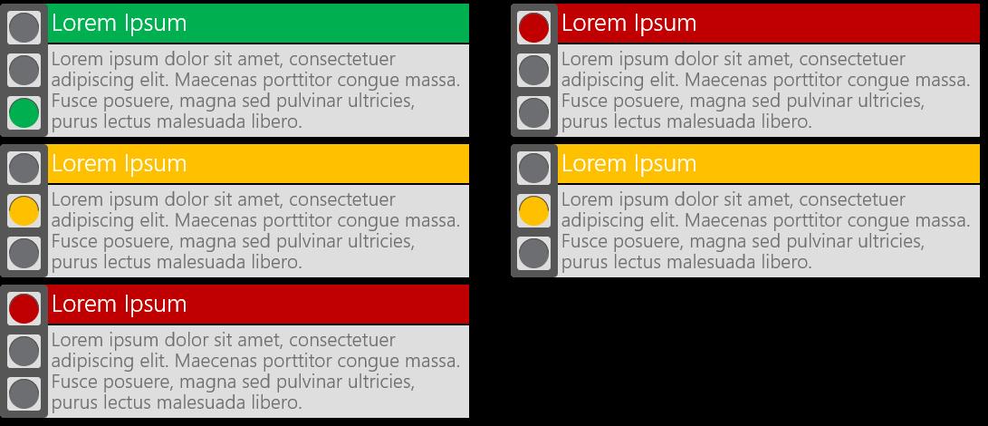 PowerPoint Vorlage: Ampel-Status mit Beschreibungstext