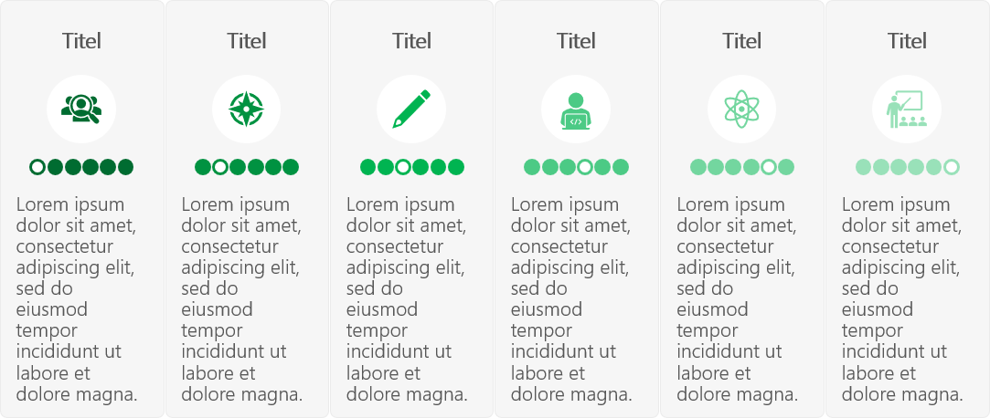 PowerPoint Vorlage: Services in transparenten Kästen