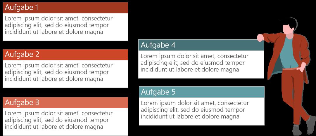 PowerPoint Vorlage: Aufgabenbeschreibungen mit Comic-Figur