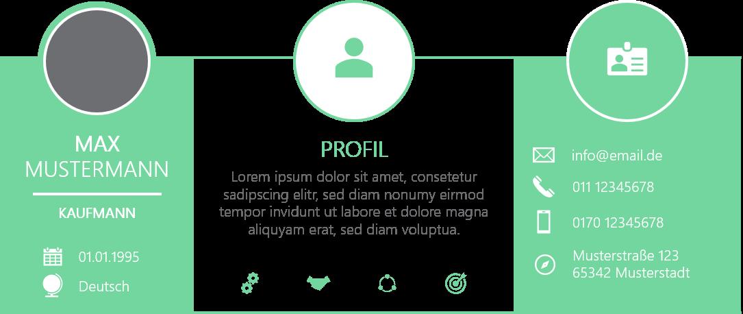 PowerPoint Vorlage: Selbstpräsentation im dreigeteilten Rechteck