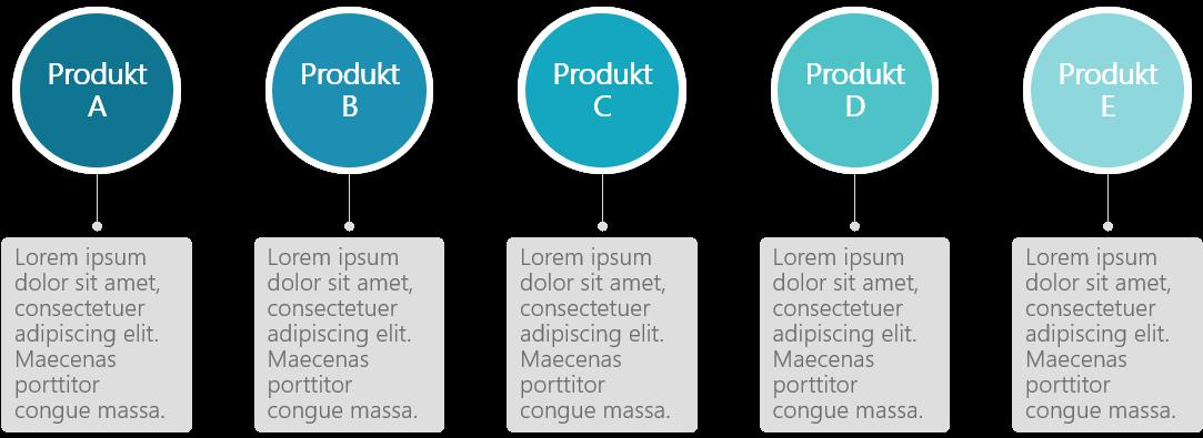 PowerPoint Vorlage: Produkte vorstellen mit Kreis und Kasten