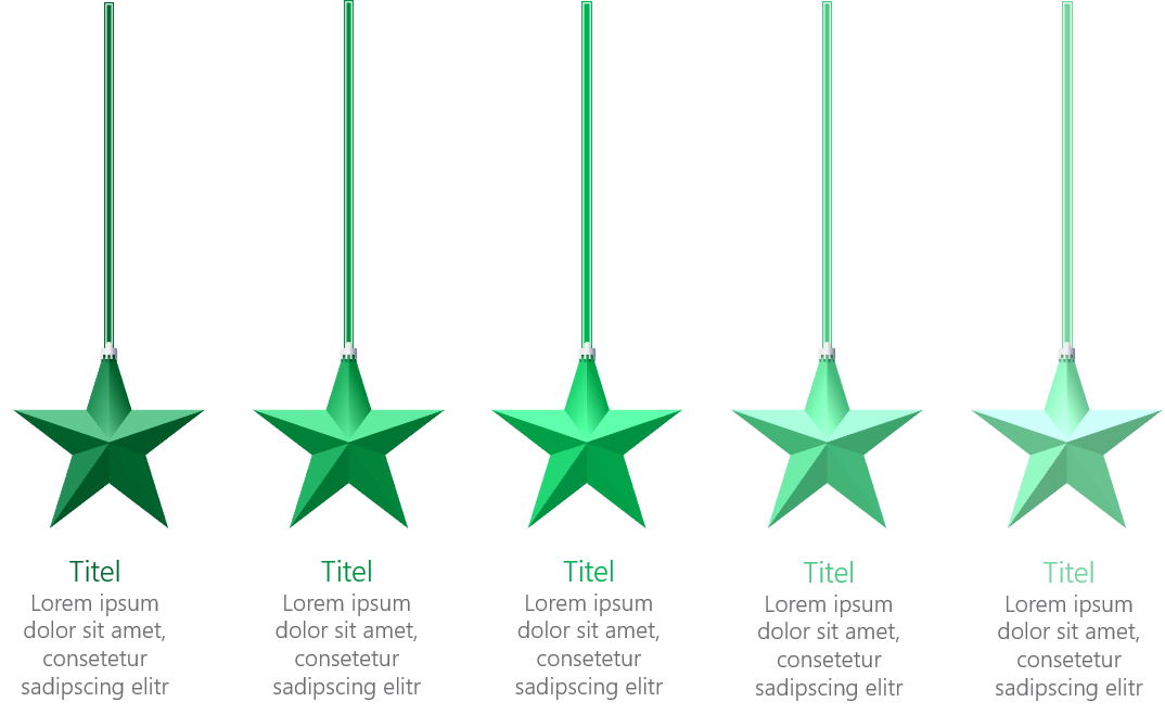 PowerPoint Vorlage: Auflistung mit herabhängenden Sternen