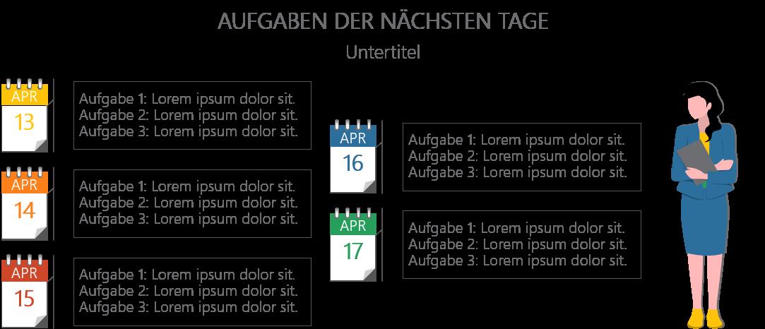 PowerPoint Vorlage: Zeitangaben für Aufgaben mit Comic-Figur