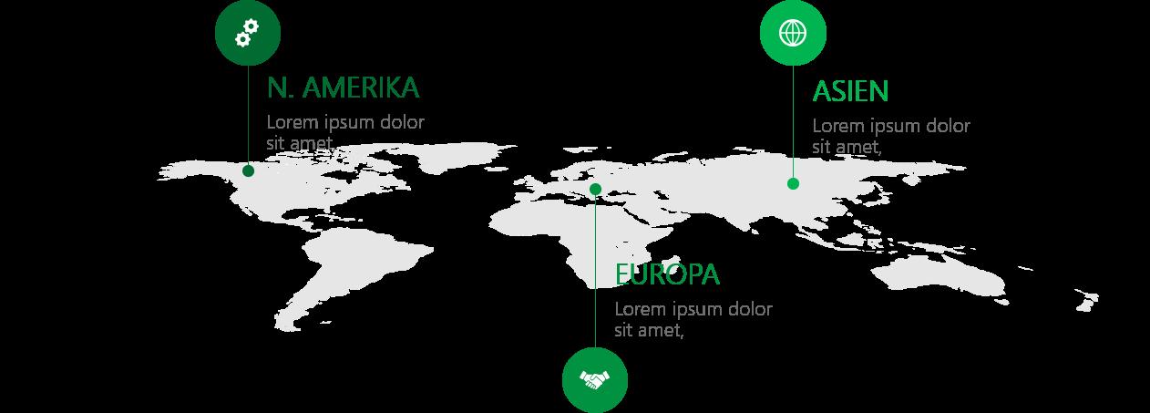 PowerPoint Vorlage: Weltkarte mit Linien und Piktogrammen
