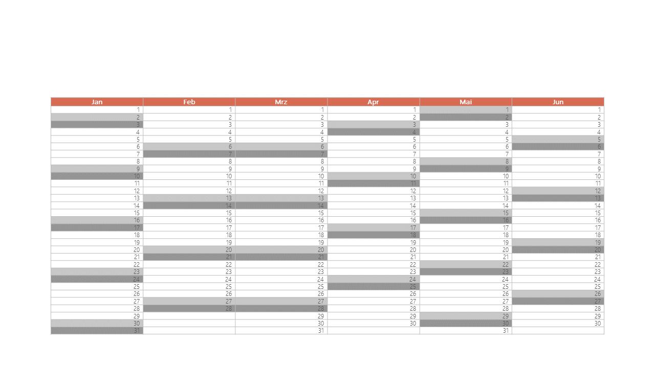 PowerPoint Vorlage: Halbjahreskalender im Spaltenformat
