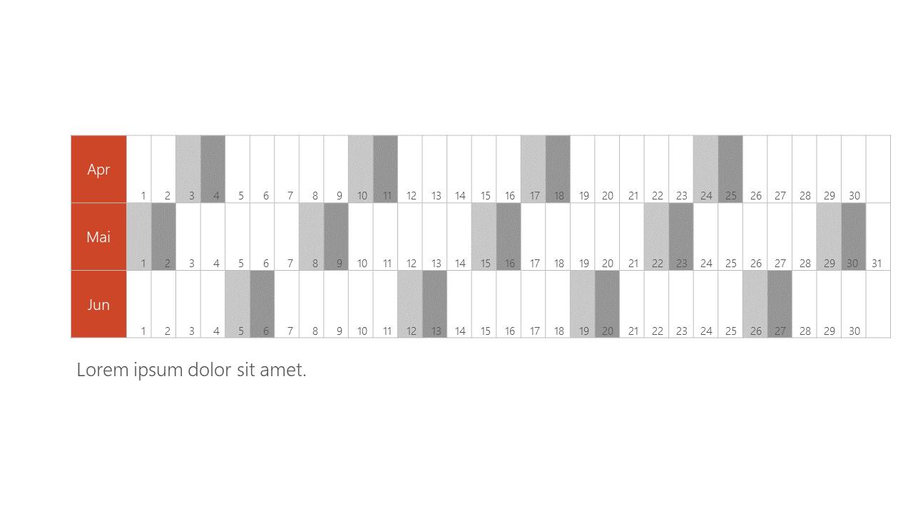 PowerPoint Vorlage: Quartalskalender in Zeilenform