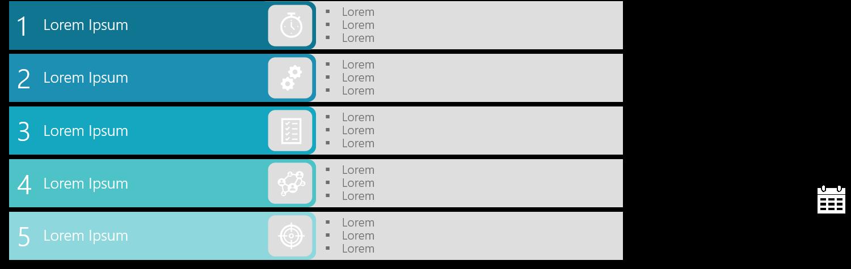 PowerPoint Vorlage: Agenda mit Icons in farbigen Balken