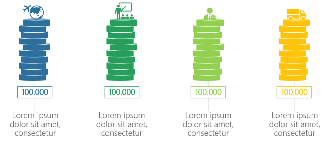 PowerPoint Vorlage: Finanzen mit gestapelten Münzen