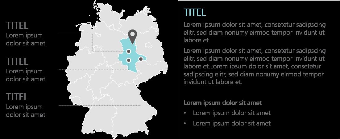 PowerPoint Vorlage: Bundesländer mit Standorten