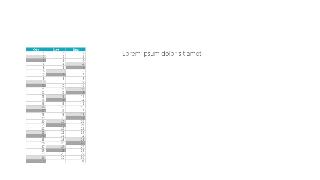 PowerPoint Vorlage: Quartalskalender in Spaltenform