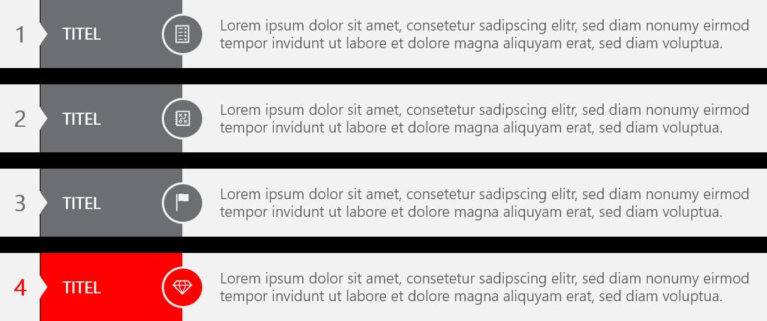 PowerPoint Vorlage: Text und Aufzählungen in Liste
