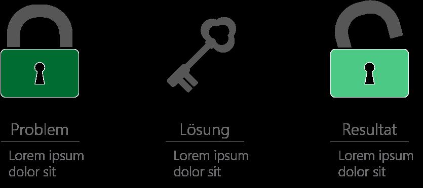 PowerPoint Vorlage: Probleme visualisieren mit Schlüssel und Schloss