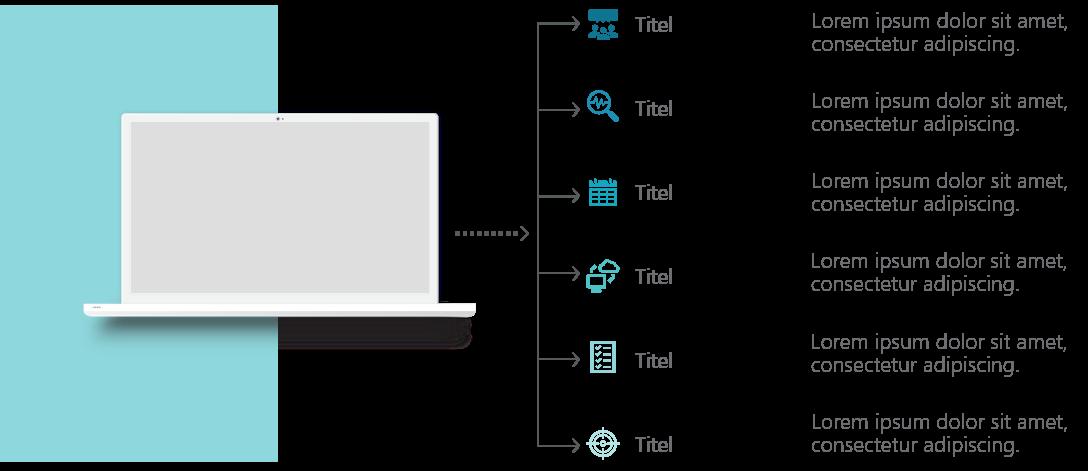 PowerPoint Vorlage: Laptop für Strukturen