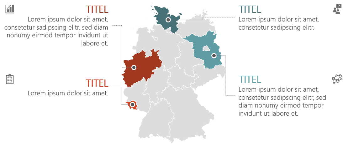 PowerPoint Vorlage: Bundesländer mit Piktogrammen