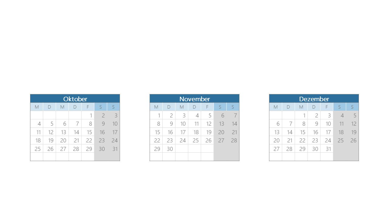 PowerPoint Vorlage: Quartalskalender mit Monatsaufteilung