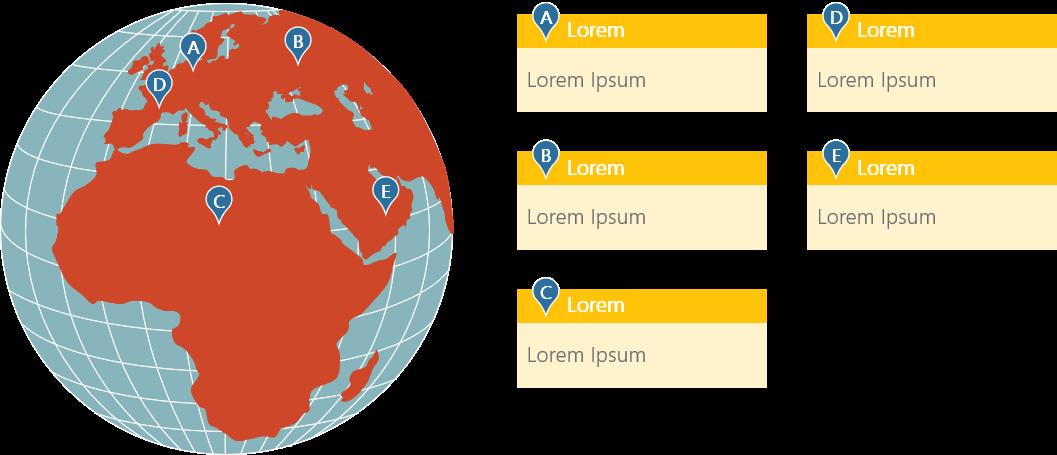 PowerPoint Vorlage: Weltkarte - Standorte in Europa und Afrika