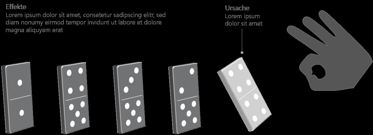 PowerPoint Vorlage: Abfolge mit fallenden Domino-Steinen