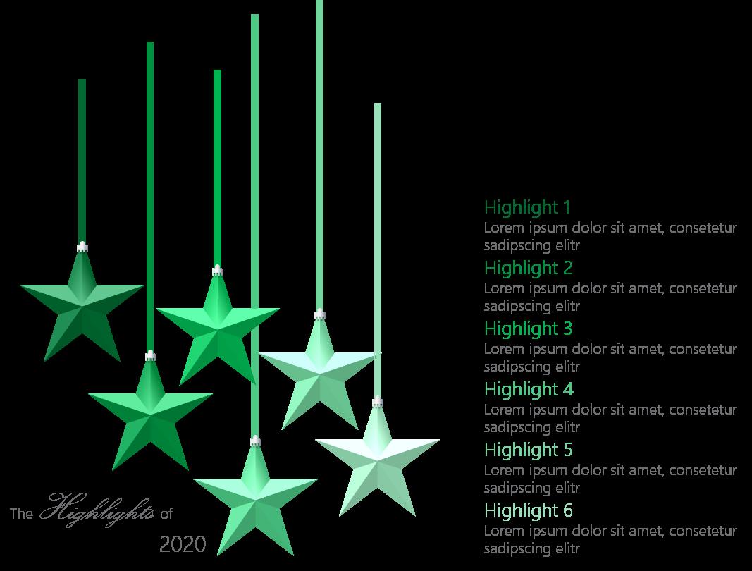 PowerPoint Vorlage: Highlights mit herabhängenden Sternen