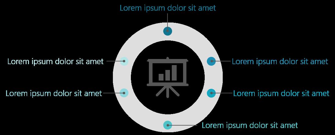 PowerPoint Vorlage: Agenda im Radialmenü