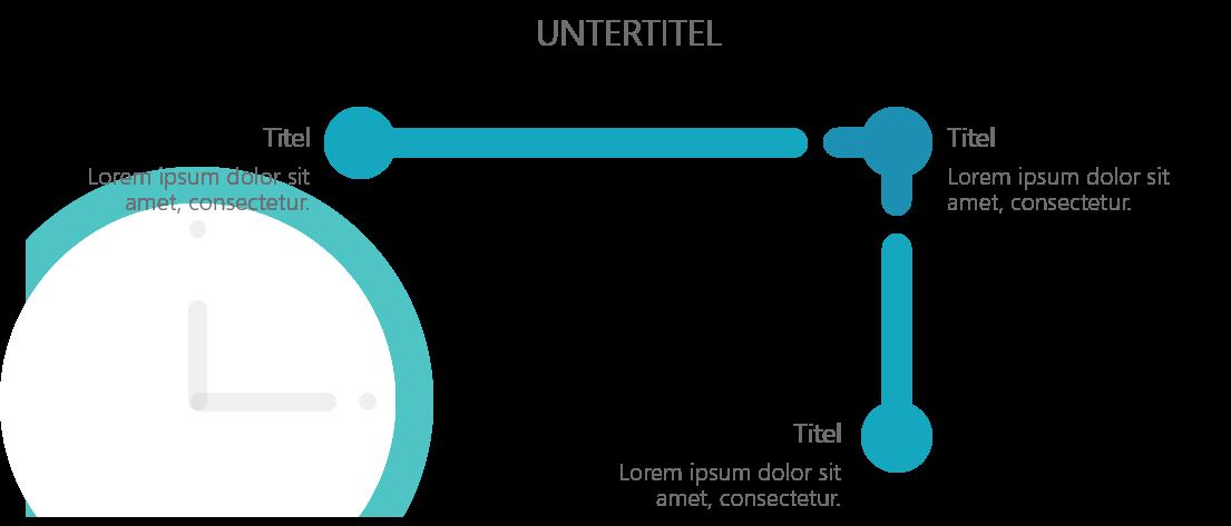 PowerPoint Vorlage: Timeline mit Uhr im Hintergrund